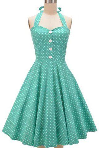 Vintage Halterneck Polka Dot Button Design Women's Dress Vintage Dresses | RoseGal.com Mobile
