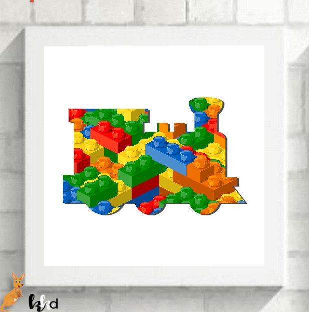 Lego Wall Art, Lego Wall Art, Train Print, Lego Prints, Lego Nursery Art, Lego Bedroom, Transport Art Print by KangarooKidsDesigns on Etsy