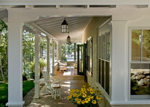 Such a gorgeous fall porch setting, ceiling lanterns add just the right amount of rustic charm!