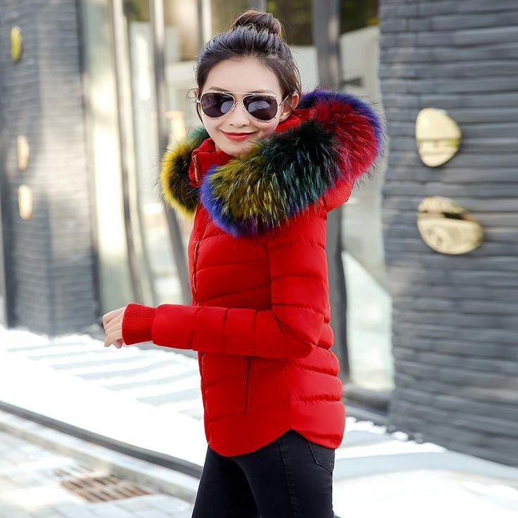 Veste doudoune manteau hiver pour femme, col fourrure artificielle multicolore,veste mode coup de coeur à  49.99€