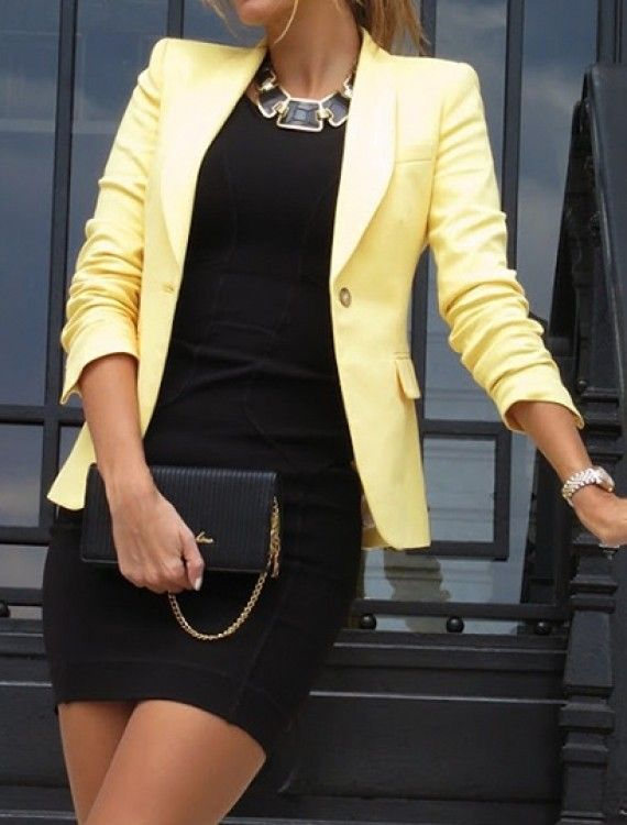 black dress, statement necklace, colored blazer. Spring fashion!