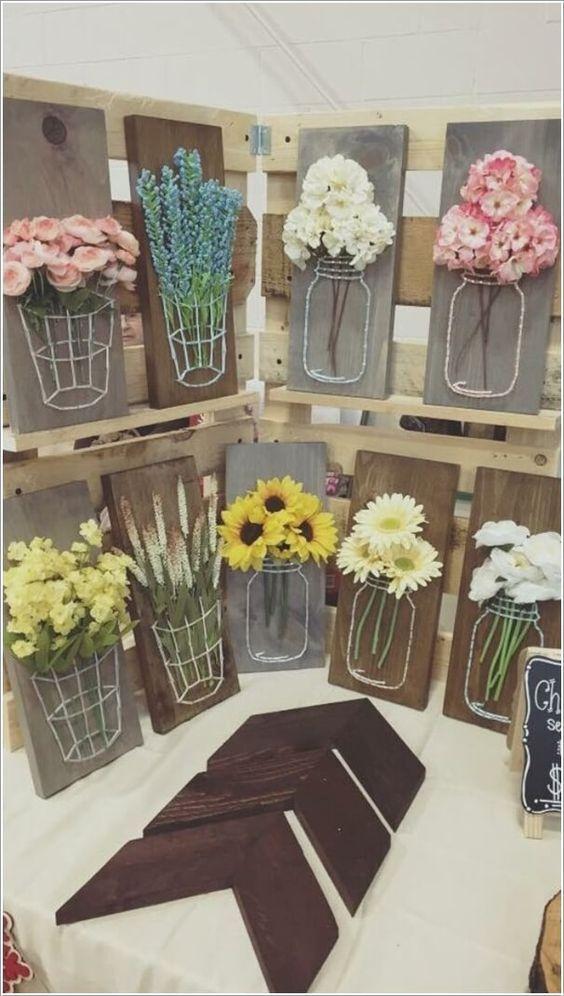 Craft a Mason Jar String Art with Wood, Yarn and Faux Flowers: