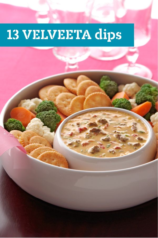 13 VELVEETA Dips – Entertain your holiday party crowd with these warm, VELVEETA cheese dips. From classic Queso Dip to Zesty Ranch, these top rated VELVEETA cheese dip recipes will be the hit of the appetizer table.
