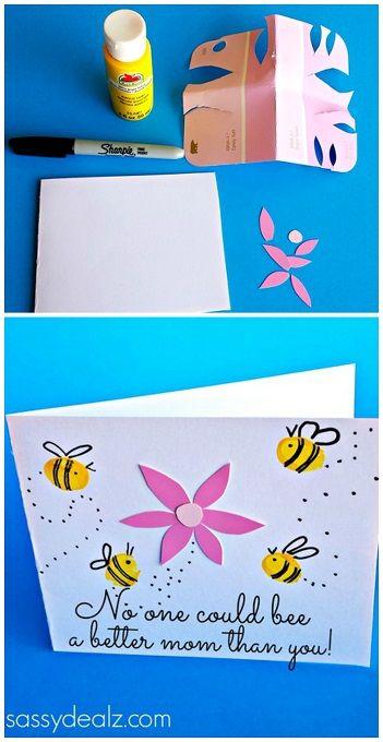 Fingerprint Bee Mother's Day Card for Kids to Make