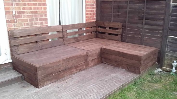 Awesome Corner Sofa Made From Repurposed Euro Pallets  #outdoor #palletlounge #palletsofa #palletterrace #recyclingwoodpallets Euro pallets reused into an outdoor corner sofa for my terrace!  ...
