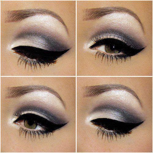 Gray,white, pinkish eye make-up