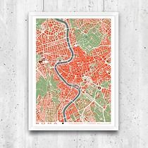 Roma - plan miasta, plakat A2, minimalmill