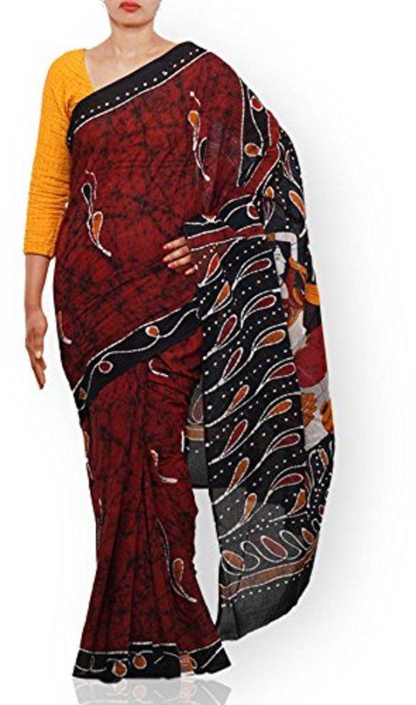 Unnati Silks Women Rust brown-black pure Batik cotton sari