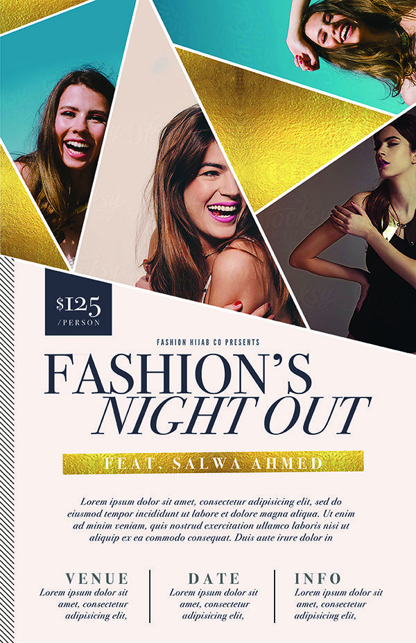 Gala Event Flyer Template PSD Featuring A Geometric Design And Gold Foil.  Great As A