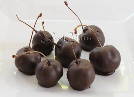 #chocolatedipped or #chocolatecovered - either way small bite of #fruit with #chocolate, perhaps between courses or as part of the #dessert round would be a delight. Pictured here are (obviously) chocolate covered, or dipped #cherries. One may leave pits in. If you choose to pit cherries, use a pitter from the side to leave the stem in tact. - Tips 'n more @ http://www.FoodCult.com - A Place for Galganov's #recipes and More - Food Matters!