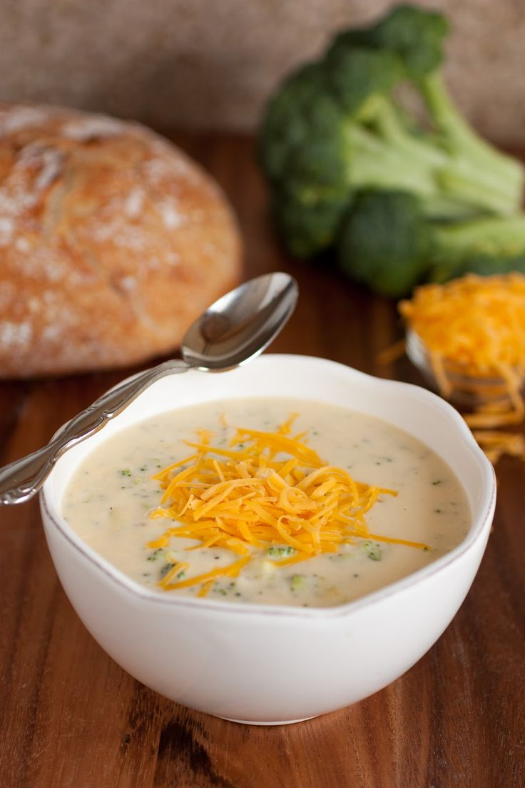 Broccoli Cheese Soup Yields about 4 - 6 servings Ingredients: 1/3 cup butter, diced in cubes 1 cup diced yellow onion (about 1/2 large onion) 1 large clove garlic, finely minced 1/4 tsp dried thyme 1/3 cup all-purpose flour 3 cups milk (I used 2%) 2 cups chicken broth 1/2 cup heavy cream 3 cups finely chopped, fresh broccoli pieces* 6 oz. freshly grated Sharp Cheddar cheese 1 oz. freshly, very finely grated Parmesan cheese (or more to taste)