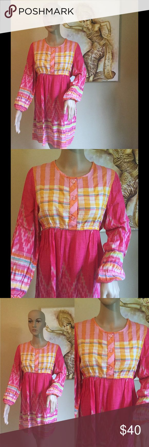 Tenun Ikat baby doll dress New without tag. Made in Indonesia. Custom made. The Ikat material is light, really nice for summer time. Please make sure about the Size as is running small Custom sewing  Dresses Long Sleeve