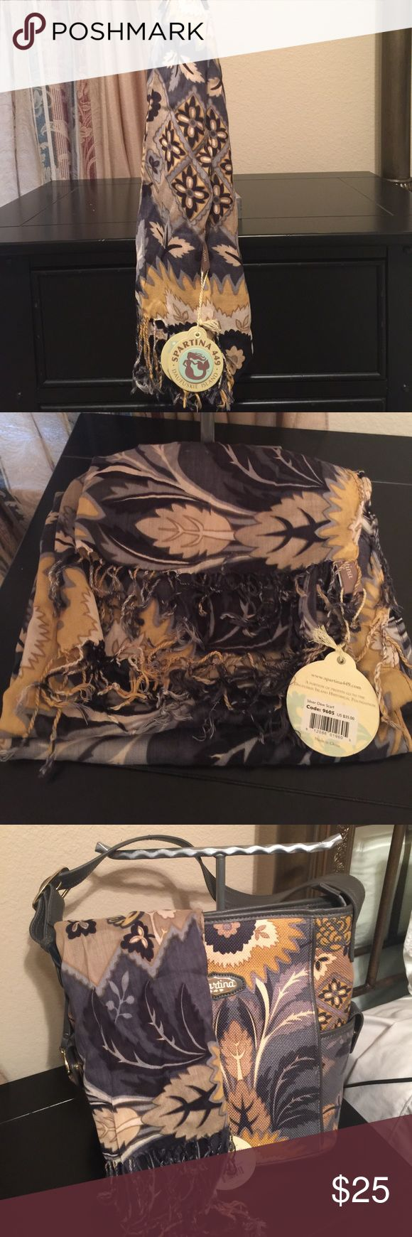 Spartina 449 scarf Silver Dew pattern Brand new with tags! This is a large scarf in 100% viscose material. Bundle with my Spartina bags in this pattern and save 20% Spartina 449 Accessories Scarves & Wraps