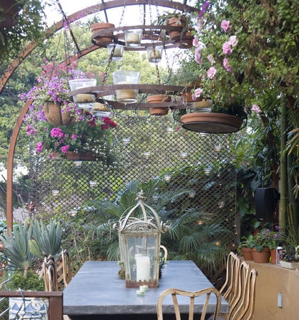 Interesting outdoor chandelier - rusty and made with odds and endsSandy Koepke, Hanging Plants, Outdoor Living, Outdoor Kitchens, Gardens, Outdoor Spaces, Manhattan Beach, Eclectic Kitchens, Hanging Pots