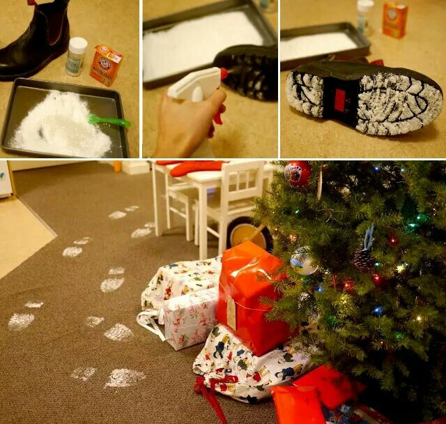 HOW TO MAKE SANTA FOOTPRINTS...using Glitter & Baking Soda! This is such a fun idea & so easy to do! via One Crazy House http://www.littlehiccups.net/2012/12/santas-footprints.html