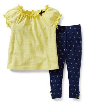 2-Piece Top and Legging Set from Carter's.   Cute print leggings and a soft jersey striped top are a great pair. What an easy 2-piece outfit for spring!  Get your rebate from RebateGiant.