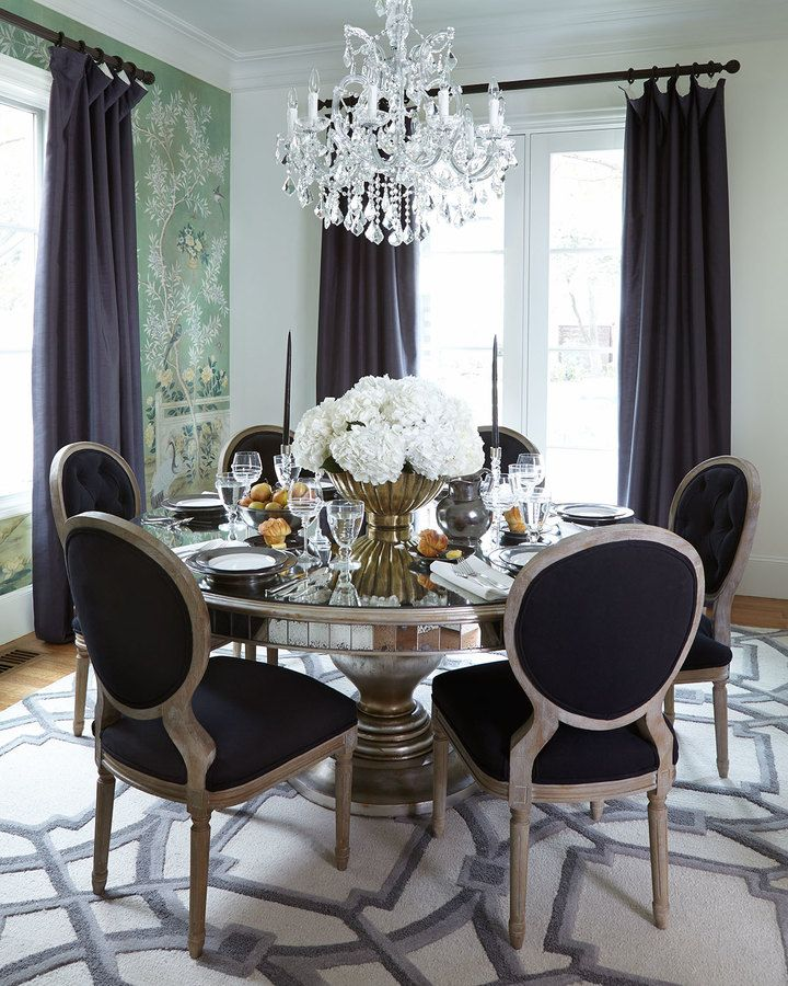 John Richard Collection Black Linen Dining Chairs Lisandra Table Via Horchow
