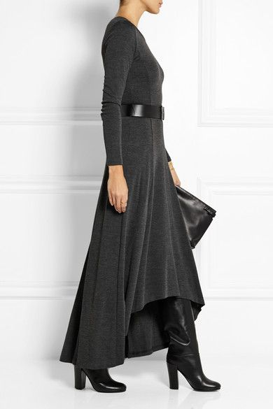 Dark-gray jersey Slips on 70% rayon, 30% wool; belt: 100% leather (Cow) Dry clean