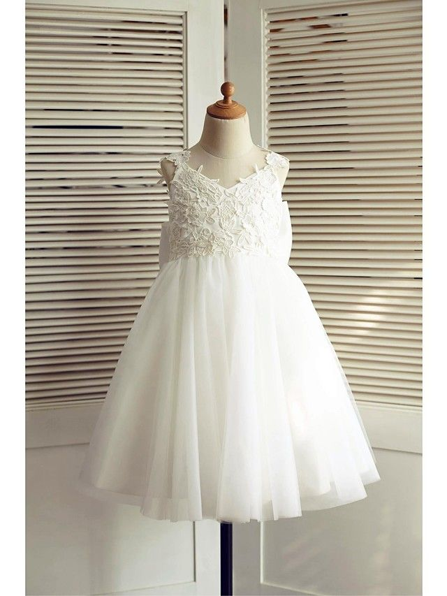 A-line Knee-length Flower Girl Dress - Lace / Tulle Sleeveless V-neck with - USD $59.99 ! HOT Product! A hot product at an incredible low price is now on sale! Come check it out along with other items like this. Get great discounts, earn Rewards and much more each time you shop with us!