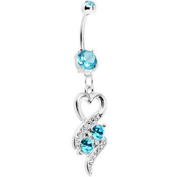 Aqua Double Gem Heart Ribbons Belly Ring #BodyCandy #Bellyring #Trending