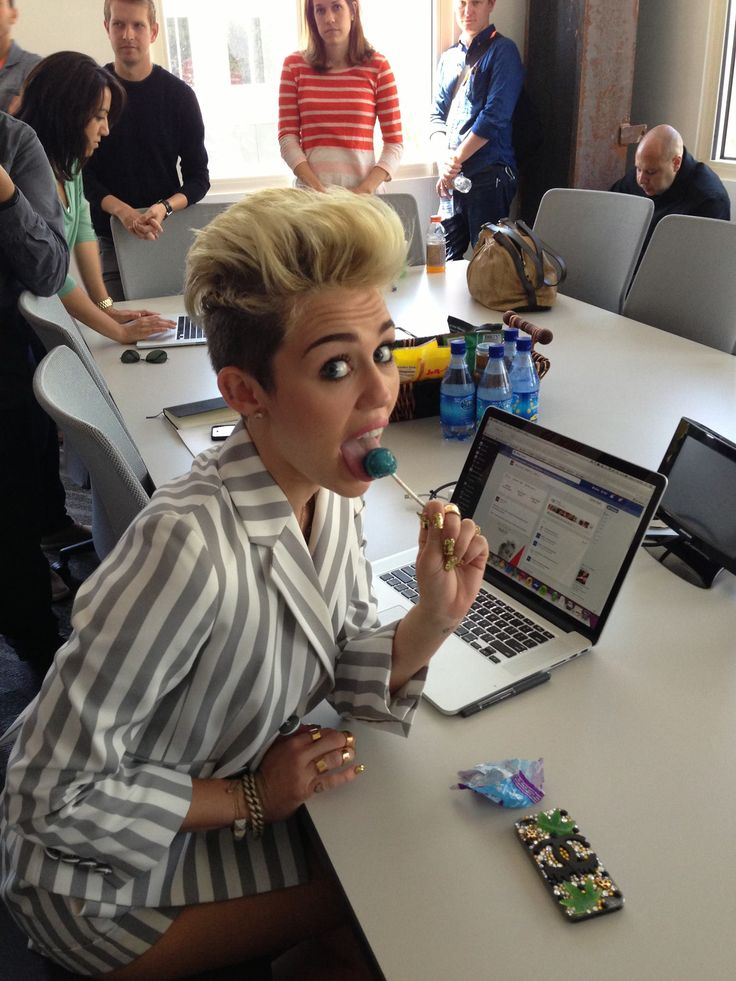 Miley Cyrus at Facebook Headquarters in Los Angeles, June 2013.