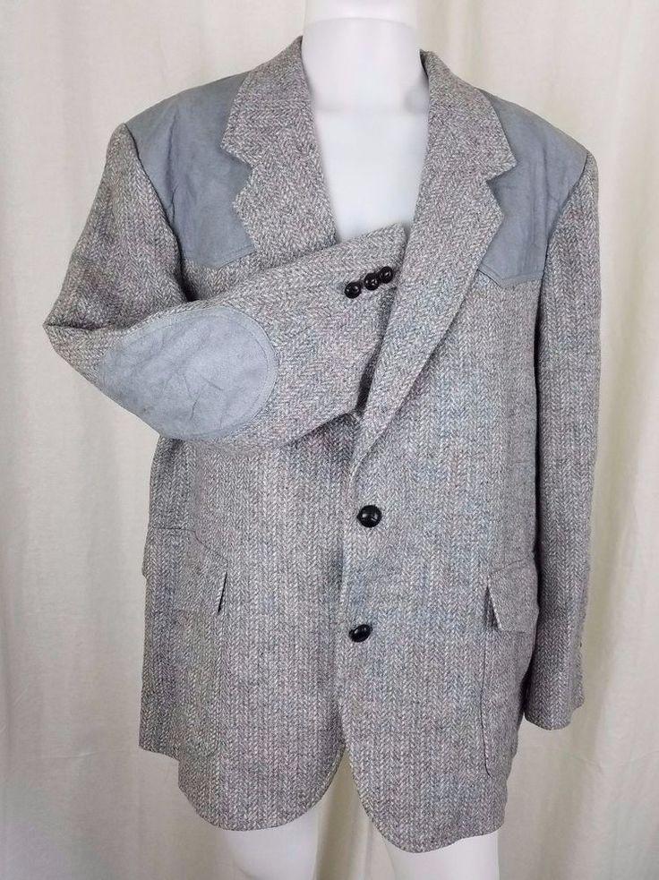 Pendleton Gray Wool Herringbone Tweed Elbow Patch Western
