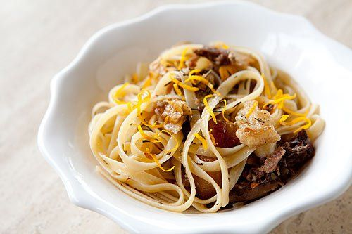 Pasta with Slow Roasted Duck ~ Classic Venetian pasta dish with duck confit or slow roasted duck, garlic, rosemary, and lemon. ~ SimplyRecipes.com