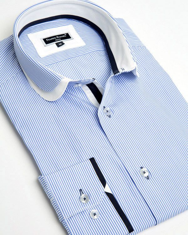 Franck Michel shirt - Claudine Double Collar Blue