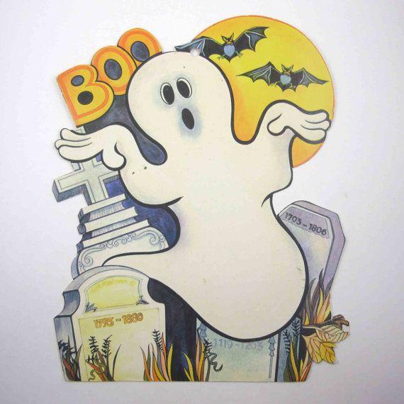 Vintage Die Cut Halloween Decoration Of Ghost By Grandmothersattic