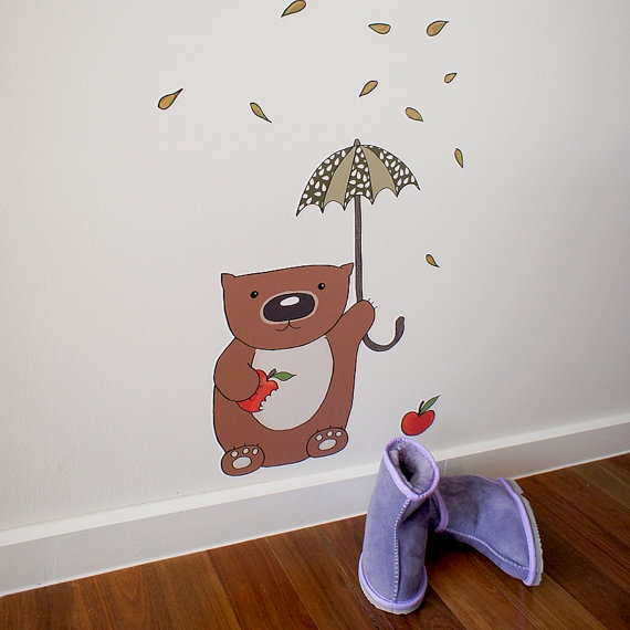 Adorable Poss & Wom Wall decal adhesive fabric Wombat Munchies by possandwom on Etsy, $70.00 #australia #children
