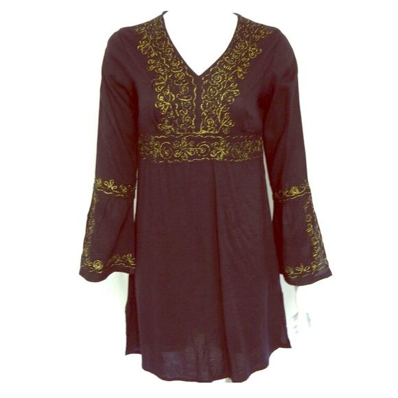 Black cover up/tunic with gold embroidery detail Arabic inspired, black long sleeve swimsuit cover up with gold details. Can be worn as a cover up at the beach or as a tunic with leggings. 100% viscose. Soaked Tops Tunics