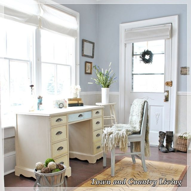 Decoupage desk serves as catchall for mail and keys in the entry way