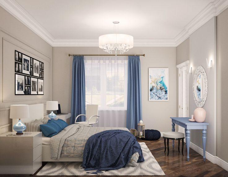 Дизайн интерьера спальни. Спальня, еклектика в сочетании класики и американского стиля, синие шторы, песочный цвет стен, пастельные оттенки в декоре.