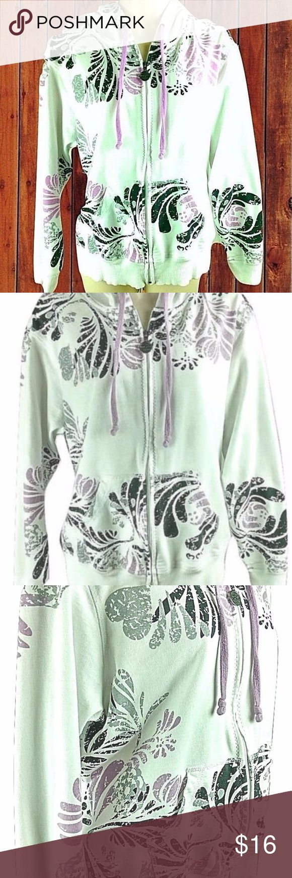 """Zip Up Hoodie Jacket White Purple Black Gray White with black, gray and light purple heart designs throughout. Two front pockets. Sz XL. See the pics.  Measurements (lying flat):  Chest (across the front) - 23.5"""" Length - 23.5"""" Sleeve - 22"""" 3 Hearts Jackets & Coats"""