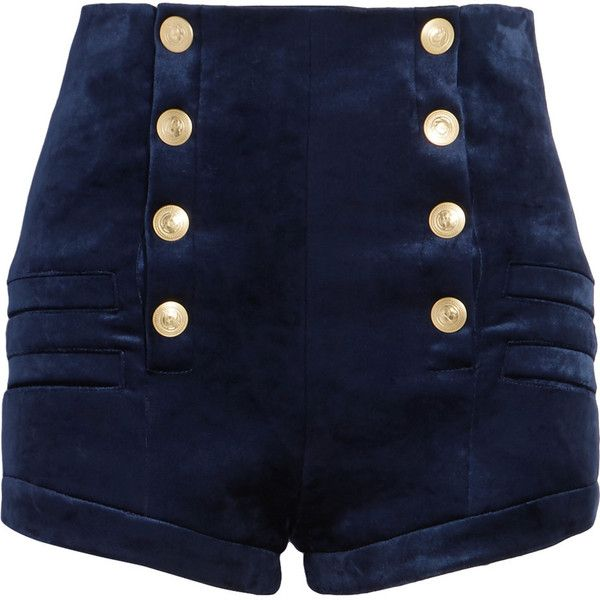 Pierre Balmain Stretch-velvet shorts (675 AUD) ❤ liked on Polyvore featuring shorts, bottoms, pants, high rise shorts, velvet shorts, navy shorts, mini shorts and high waisted velvet shorts