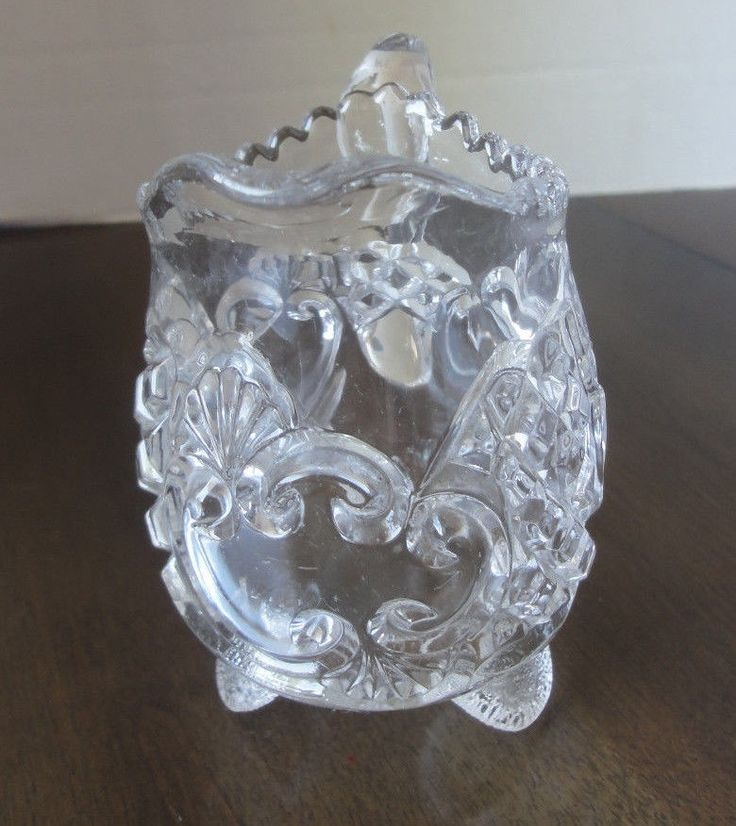 Pitcher,Footed,  Embossed Cut Glass, Scalloped Top