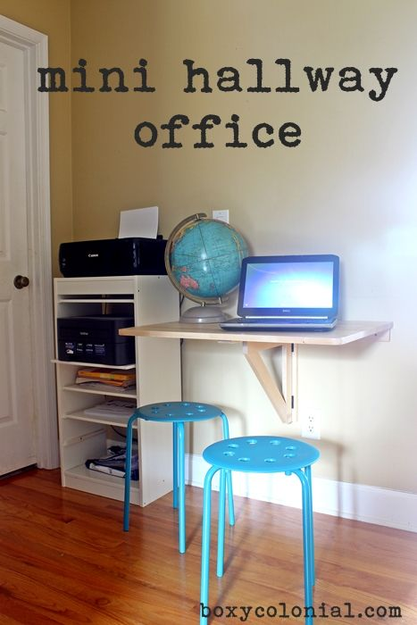 Hallway Office and Print Station with folding desk: use space efficiently in a wide hallway
