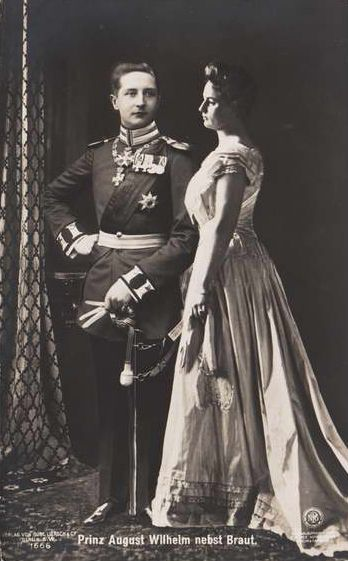 """Prince August Wilhelm and his bride, Princess Alexandra Victoria of Schleswig-Holstein-Sonderburg-Glücksburg.  Their marriage was unhappy due to August's """"pronounced homophilic tendencies"""" and they divorced in 1920.  They had one child."""