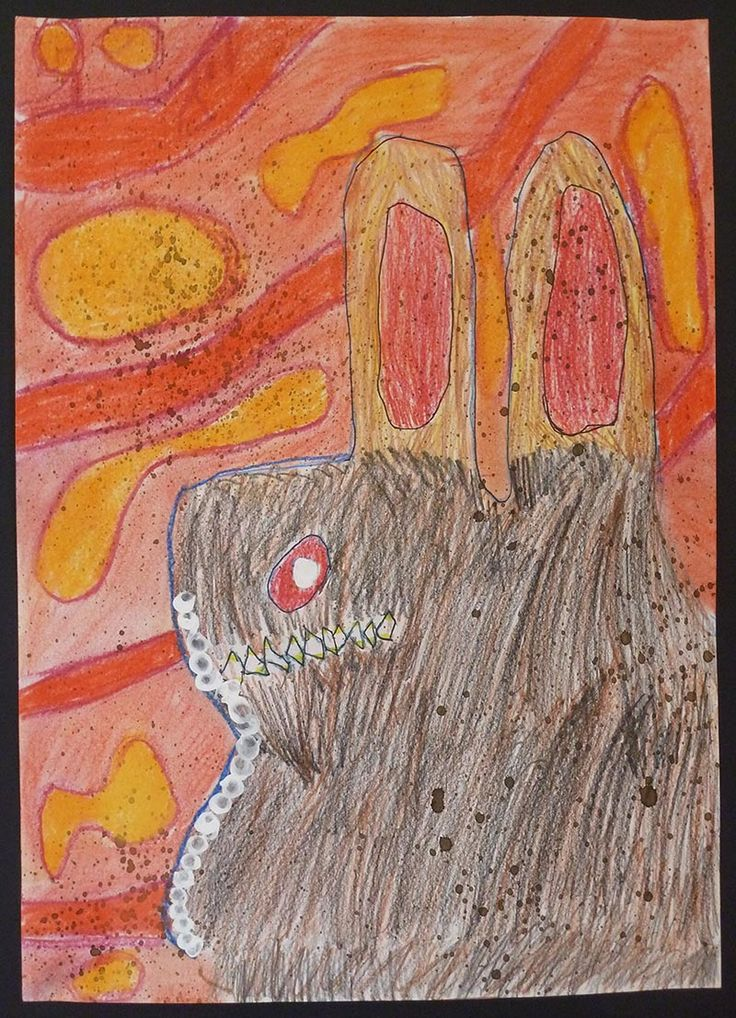 Bunyip in the Waterhole - imaginative drawing looking at stories of bunyips. Layered mixed drawing media: pencil, pastel, oil crayon, ink, paint. Year 3