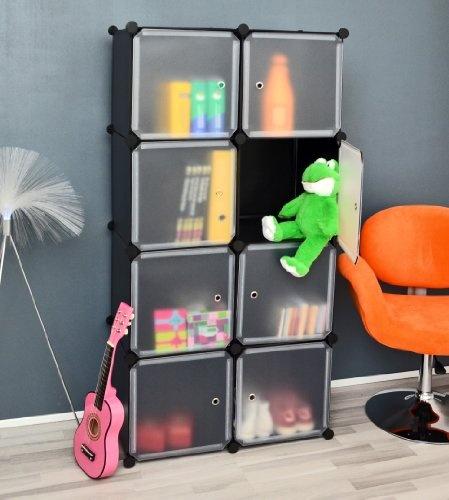 Büro Flur Regal Schrank Steckregal Wandregal Sideboard Standregal in Schwarz und Weiß