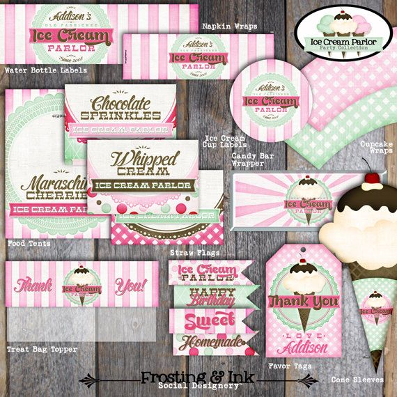 Ice Cream Party Ice Cream Parlor Birthday by frostingandink:  Napkin wraps, mini candy bar wrappers for in favor carton, & custom straw flags.  cute!