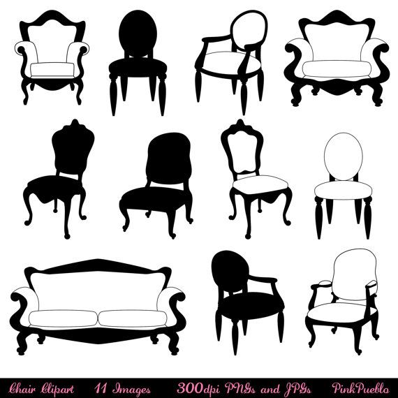 Chair Clip Art Clipart Chair Silhouettes Furniture Clip Art Etsy Photoshop Brushes Art Clipart Clip Art