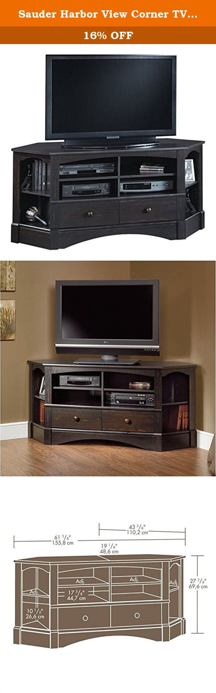 "Sauder Harbor View Corner TV Stand in Antiqued Paint. Holds up to a 42"" TV - Two drawers provide hidden storage - Display area in each corner includes adjustable shelf."