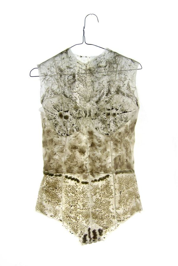 "a beautiful, fascinating garment by Beatrice Oettinger.. ""This transparent body contains the seeds and the sprouts of an alpine pasture. Silky Spike Melic (melica ciliata), Canadian thistle (cirsium arvense), dandelion (taraxacum officinale), bladder campion (silene vulgaris) and other unknown seeds."""