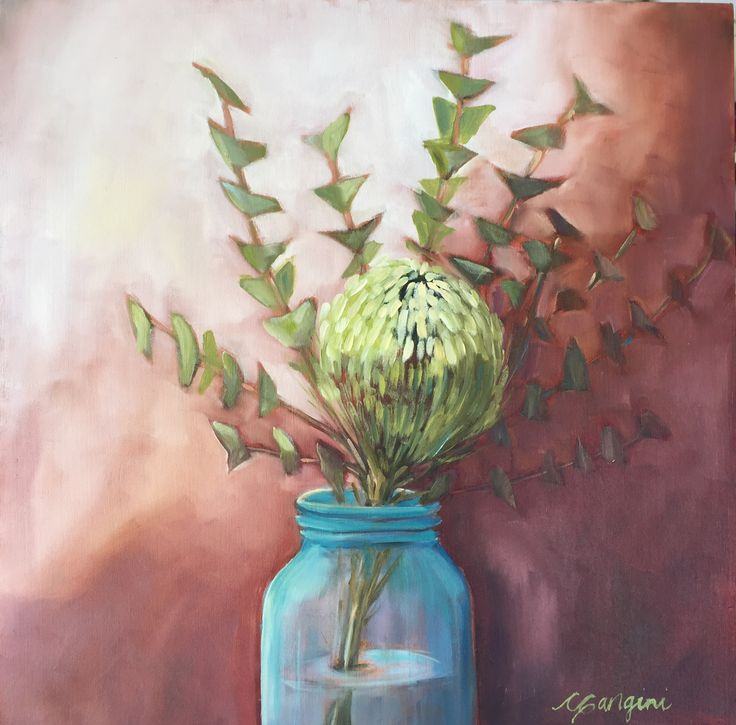 Pin Cushion Protea in Blue Jar. CGanginiArt  Maui oil painting