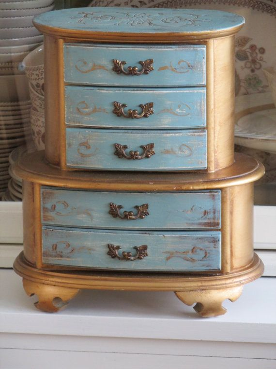 JEWELRY BOX Shabby Chic Jewelry Box Painted Duck Egg Blue and Antique Gold French Provincial Dresser & 25+ unique Jewelry box painted ideas on Pinterest | DIY vintage ... Aboutintivar.Com
