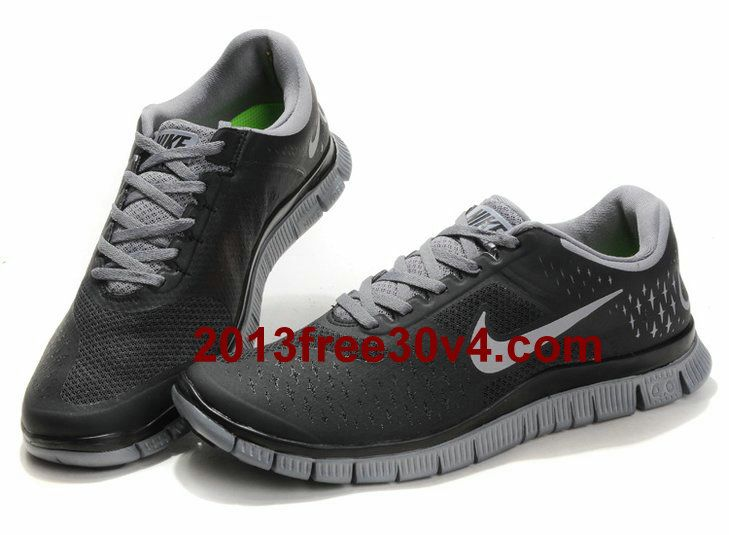 Free Shipping 6070 OFF Netherlands Nike Free 30 V4 Mens Running Shoe Dark Grey Reflect Silver Black PTzb5