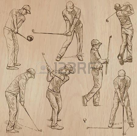 GOLF les golfeurs golf golf et des quipements Collection d une main tir e illustrations ligne art ve Banque d'images