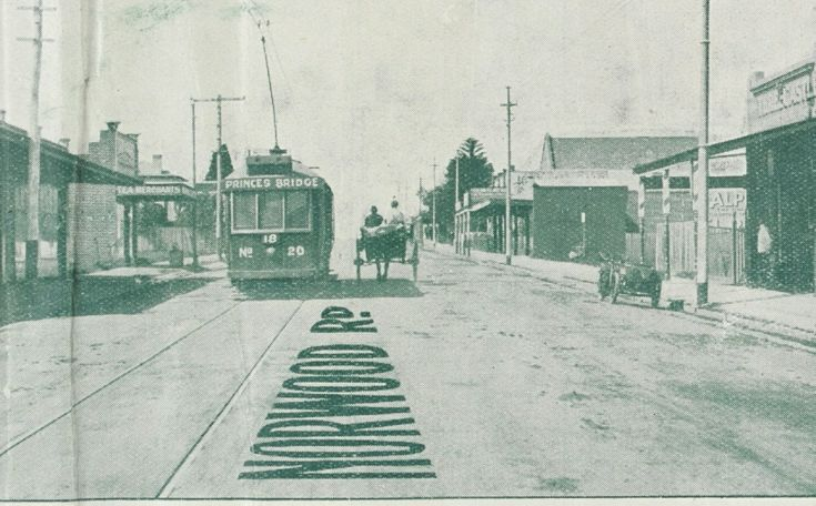 Norwood Road - Burwood 1922.  Now known as Toorak Road in Camberwell/Glen Iris   Photo looking east towards Warrigal road, then known as Boundary road.