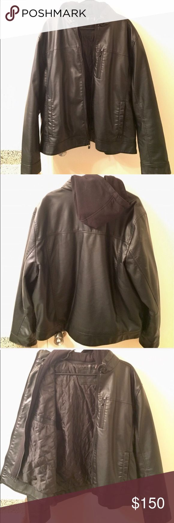 NWOT Black leather jacket Calvin Klein. Black leather jacket, with cotton hood. Size XL men's. NEW without tags. Calvin Klein Jackets & Coats